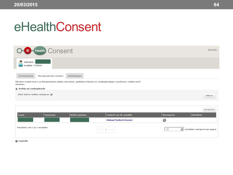 eHealthConsent 20/03/201564