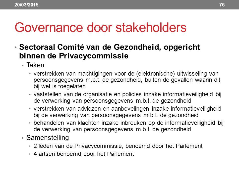 Governance door stakeholders Sectoraal Comité van de Gezondheid, opgericht binnen de Privacycommissie Taken verstrekken van machtigingen voor de (elektronische) uitwisseling van persoonsgegevens m.b.t.