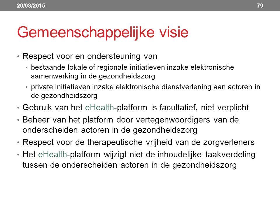 Gemeenschappelijke visie Respect voor en ondersteuning van bestaande lokale of regionale initiatieven inzake elektronische samenwerking in de gezondheidszorg private initiatieven inzake elektronische dienstverlening aan actoren in de gezondheidszorg Gebruik van het eHealth-platform is facultatief, niet verplicht Beheer van het platform door vertegenwoordigers van de onderscheiden actoren in de gezondheidszorg Respect voor de therapeutische vrijheid van de zorgverleners Het eHealth-platform wijzigt niet de inhoudelijke taakverdeling tussen de onderscheiden actoren in de gezondheidszorg 20/03/201579