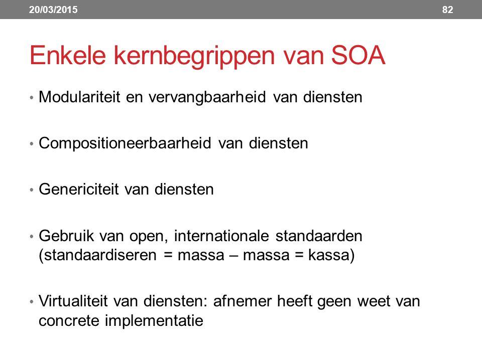 Enkele kernbegrippen van SOA Modulariteit en vervangbaarheid van diensten Compositioneerbaarheid van diensten Genericiteit van diensten Gebruik van open, internationale standaarden (standaardiseren = massa – massa = kassa) Virtualiteit van diensten: afnemer heeft geen weet van concrete implementatie 20/03/201582