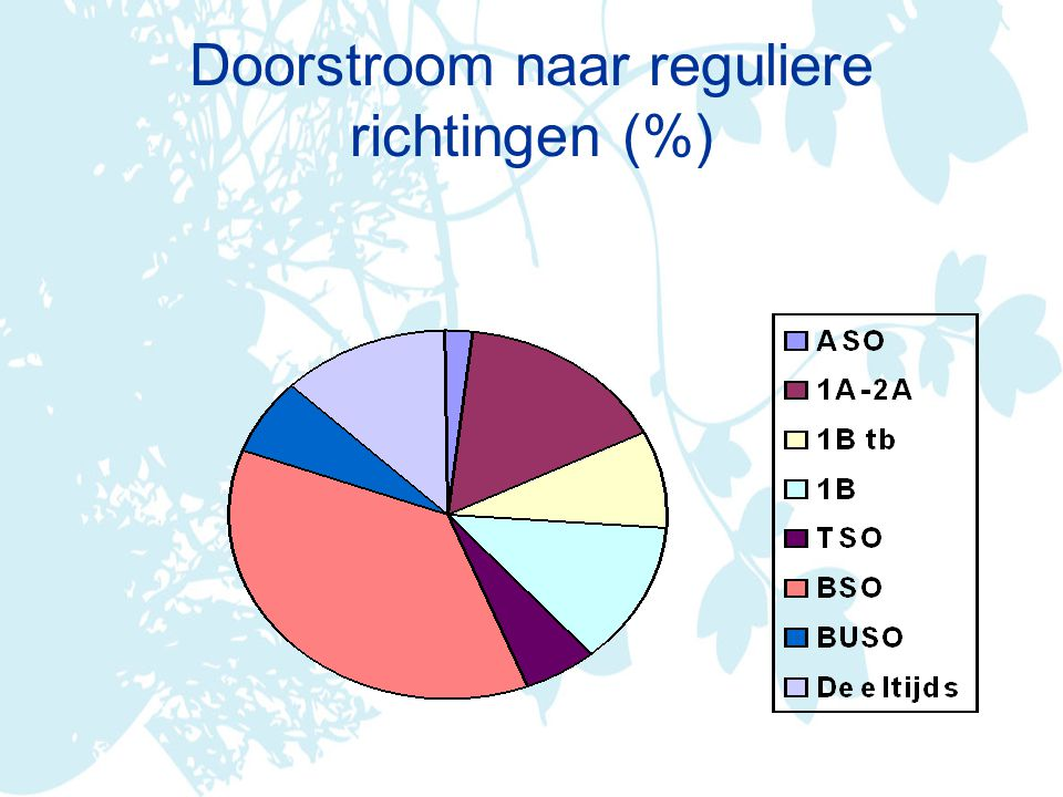 Doorstroom naar reguliere richtingen (%)