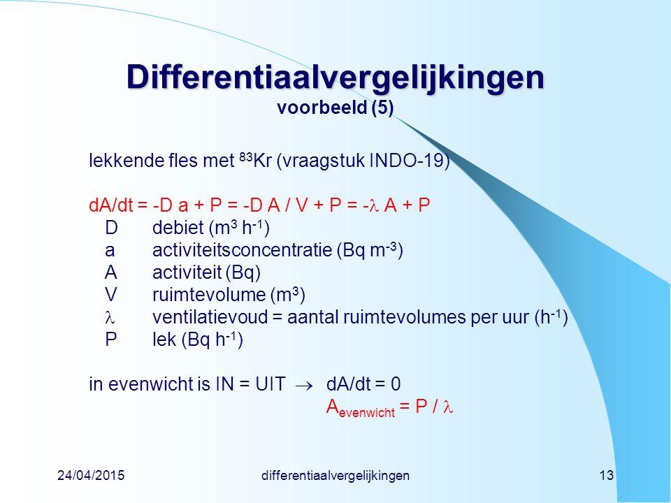 24/04/2015differentiaalvergelijkingen13 Differentiaalvergelijkingen Differentiaalvergelijkingen voorbeeld (5) lekkende fles met 83 Kr (vraagstuk INDO-