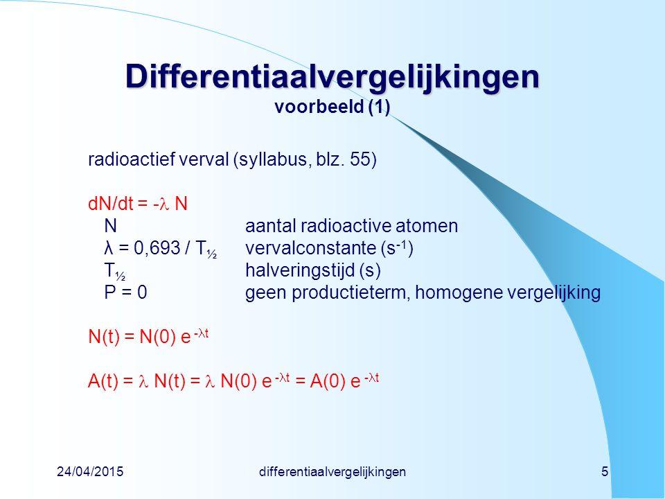 24/04/2015differentiaalvergelijkingen16 Differentiaalvergelijkingen Differentiaalvergelijkingen geval 2: rechter lid = e-macht y + y = P e -t speciale oplossingy 1 (t) = C e - 't invullen- C e -t + C e -t = P e -t C = P / ( - ) algemene oplossingy(t) = A e - t + P e - 't / ( - ') randvoorwaardey(0) = 0 invullenA = -P / ( - ') y(t) = P (e -t - e - t ) / ( - ) merk op dat dit overgaat in speciaal geval 1 als = 0 stilzwijgend aangenomen dat  voorbeeld is moeder-dochterrelatie(syllabus, blz.