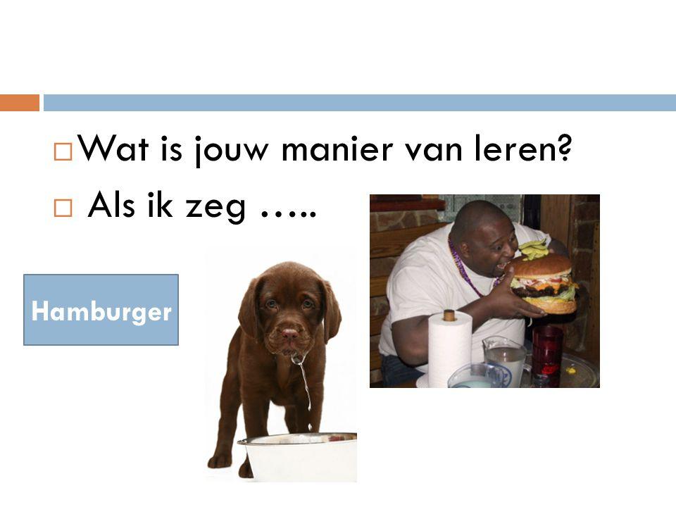  Wat is jouw manier van leren  Als ik zeg ….. Hamburger