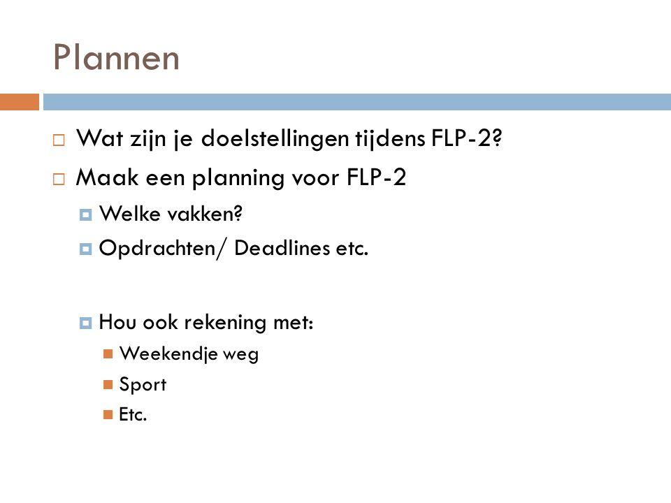 Plannen  Wat zijn je doelstellingen tijdens FLP-2.