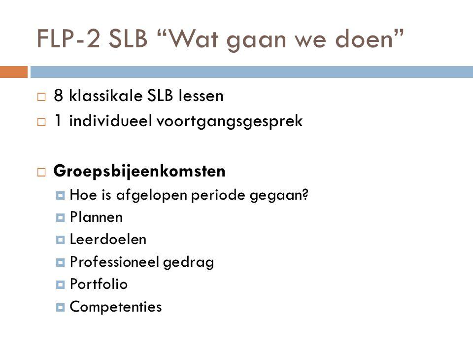 FLP-2 SLB Wat gaan we doen  8 klassikale SLB lessen  1 individueel voortgangsgesprek  Groepsbijeenkomsten  Hoe is afgelopen periode gegaan.