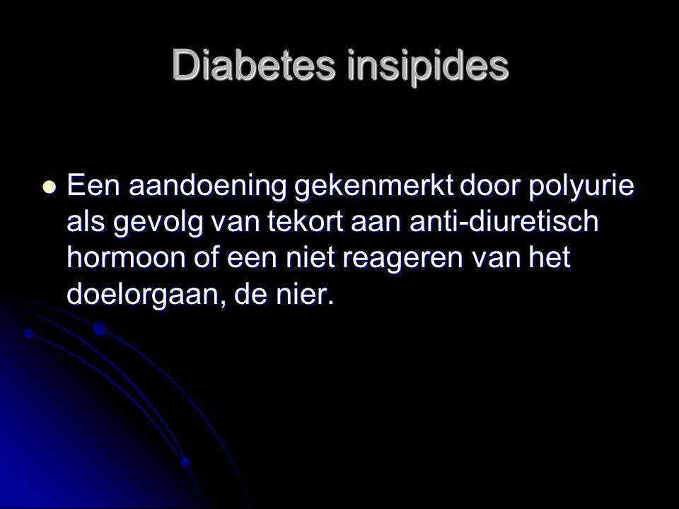 Diabetes insipides Een aandoening gekenmerkt door polyurie als gevolg van tekort aan anti-diuretisch hormoon of een niet reageren van het doelorgaan,