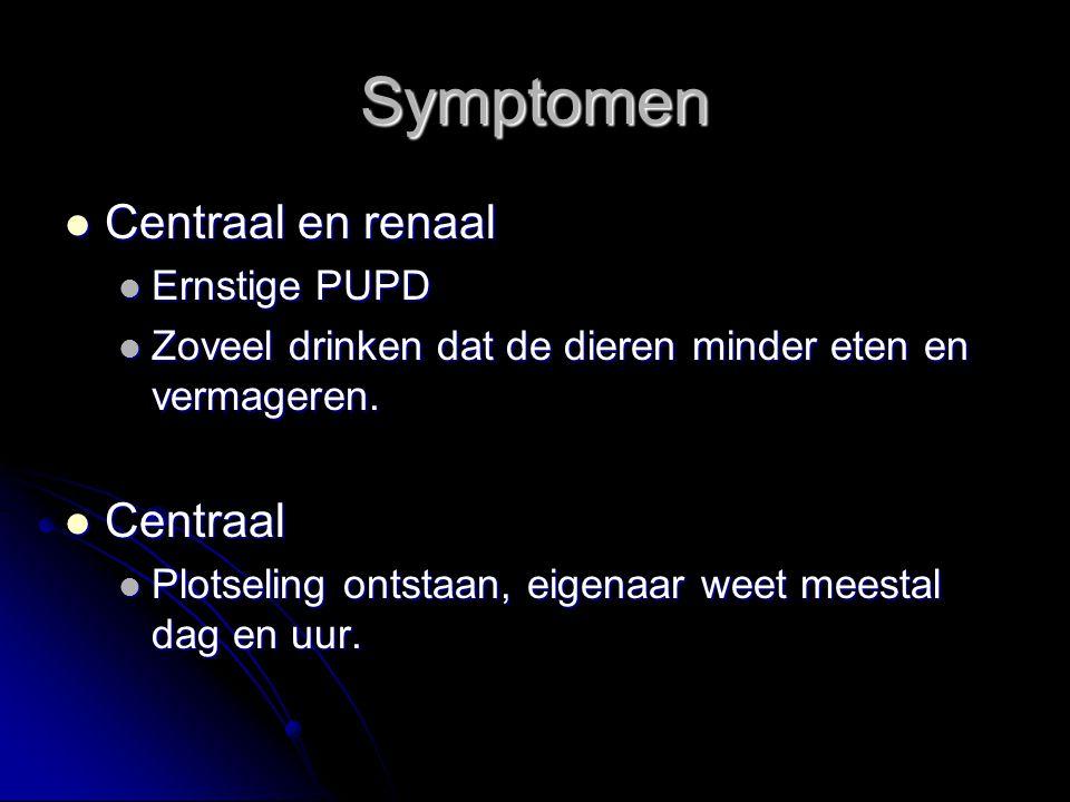 Symptomen Centraal en renaal Centraal en renaal Ernstige PUPD Ernstige PUPD Zoveel drinken dat de dieren minder eten en vermageren. Zoveel drinken dat