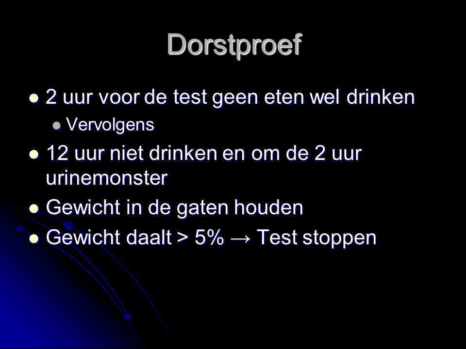 Dorstproef 2 uur voor de test geen eten wel drinken 2 uur voor de test geen eten wel drinken Vervolgens Vervolgens 12 uur niet drinken en om de 2 uur