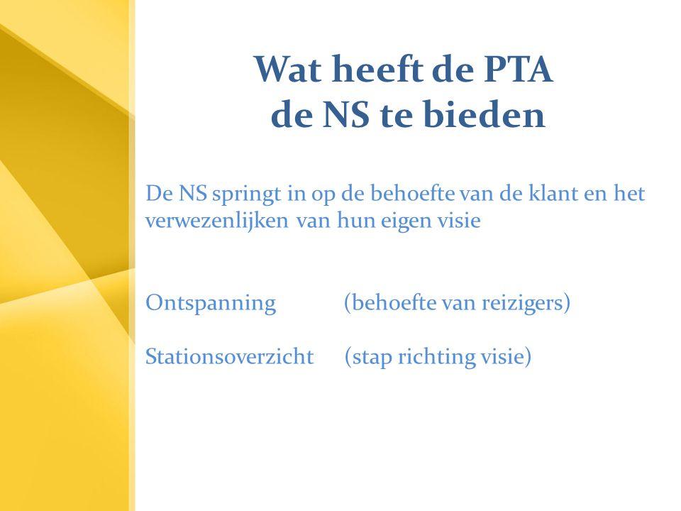 Wat heeft de PTA de NS te bieden De NS springt in op de behoefte van de klant en het verwezenlijken van hun eigen visie Ontspanning (behoefte van reiz