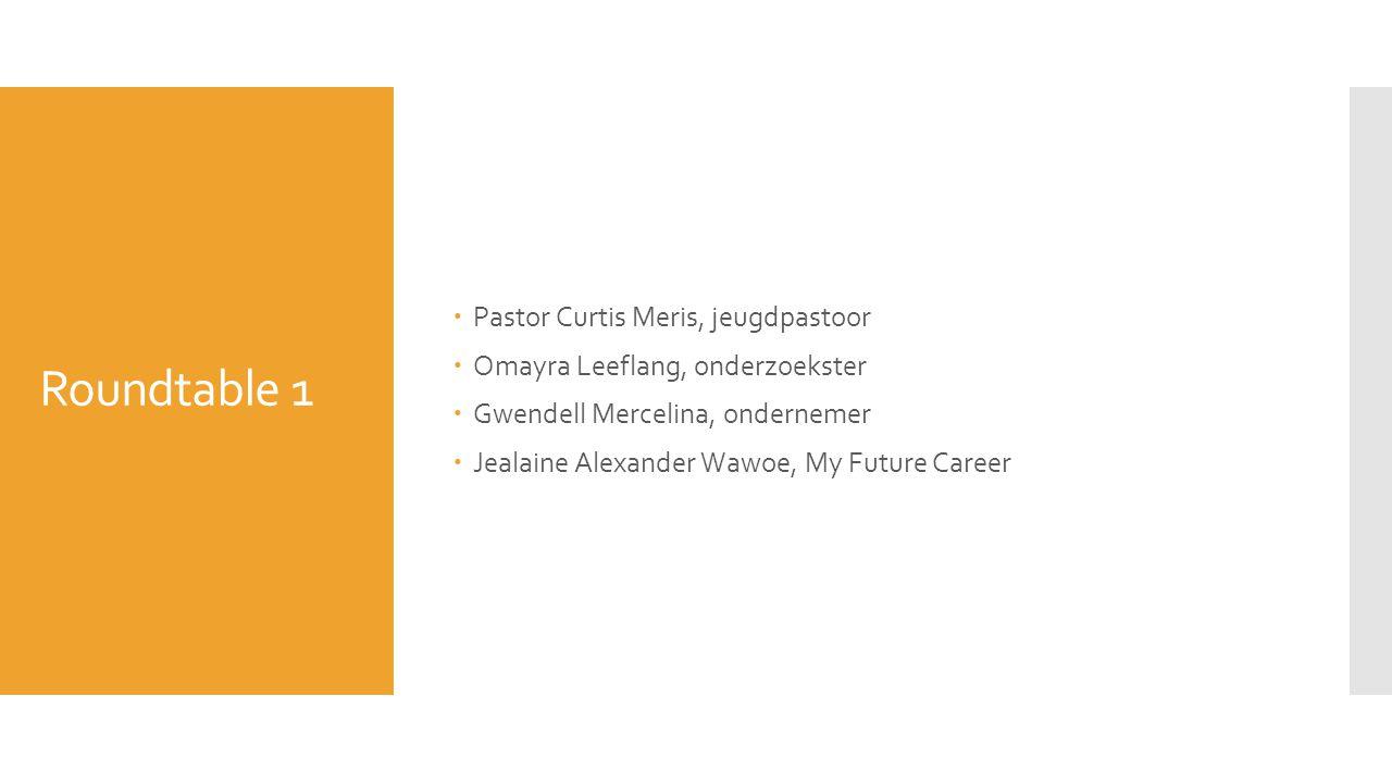 Roundtable 1  Pastor Curtis Meris, jeugdpastoor  Omayra Leeflang, onderzoekster  Gwendell Mercelina, ondernemer  Jealaine Alexander Wawoe, My Futu