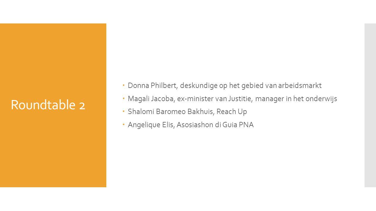 Roundtable 2  Donna Philbert, deskundige op het gebied van arbeidsmarkt  Magali Jacoba, ex-minister van Justitie, manager in het onderwijs  Shalomi