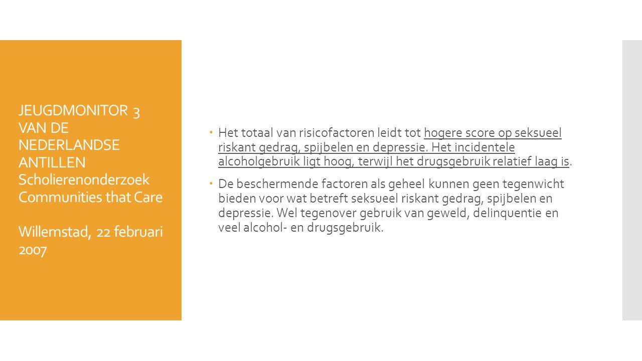 JEUGDMONITOR 3 VAN DE NEDERLANDSE ANTILLEN Scholierenonderzoek Communities that Care Willemstad, 22 februari 2007  Het totaal van risicofactoren leid
