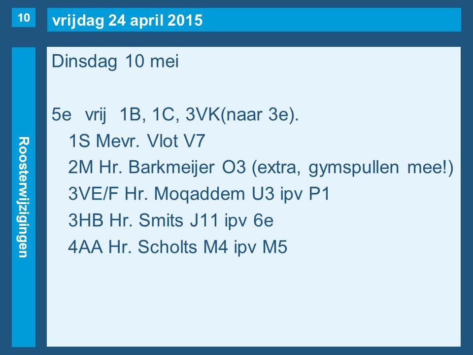 vrijdag 24 april 2015 Roosterwijzigingen Dinsdag 10 mei 5evrij1B, 1C, 3VK(naar 3e).