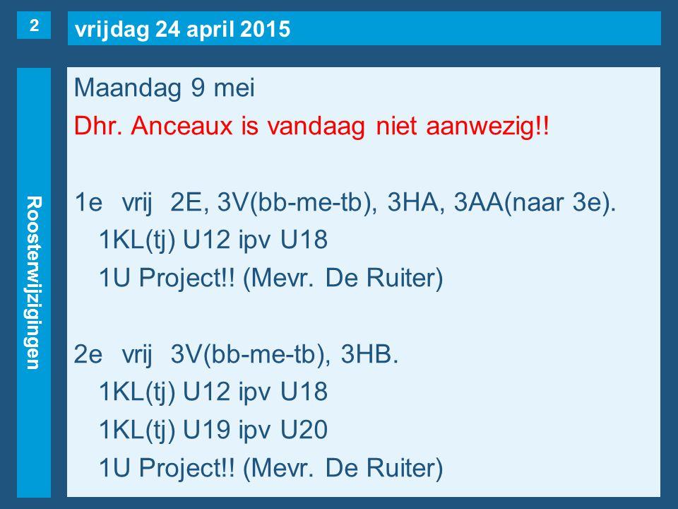 vrijdag 24 april 2015 Roosterwijzigingen Maandag 9 mei Dhr.