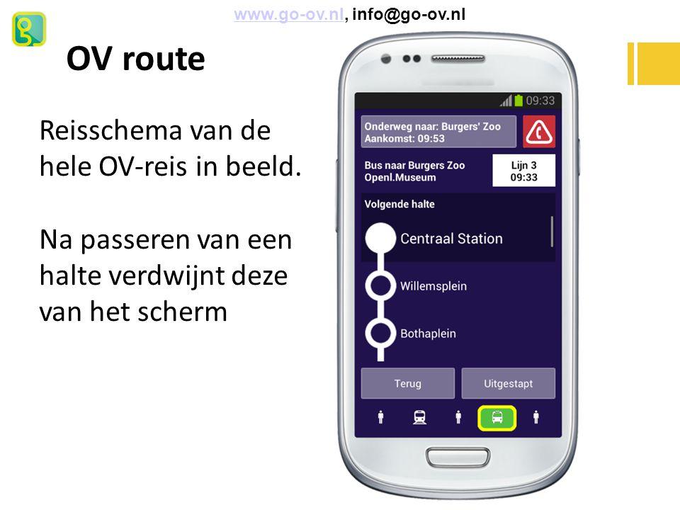 OV route www.go-ov.nl, info@go-ov.nlwww.go-ov.nl Reisschema van de hele OV-reis in beeld. Na passeren van een halte verdwijnt deze van het scherm
