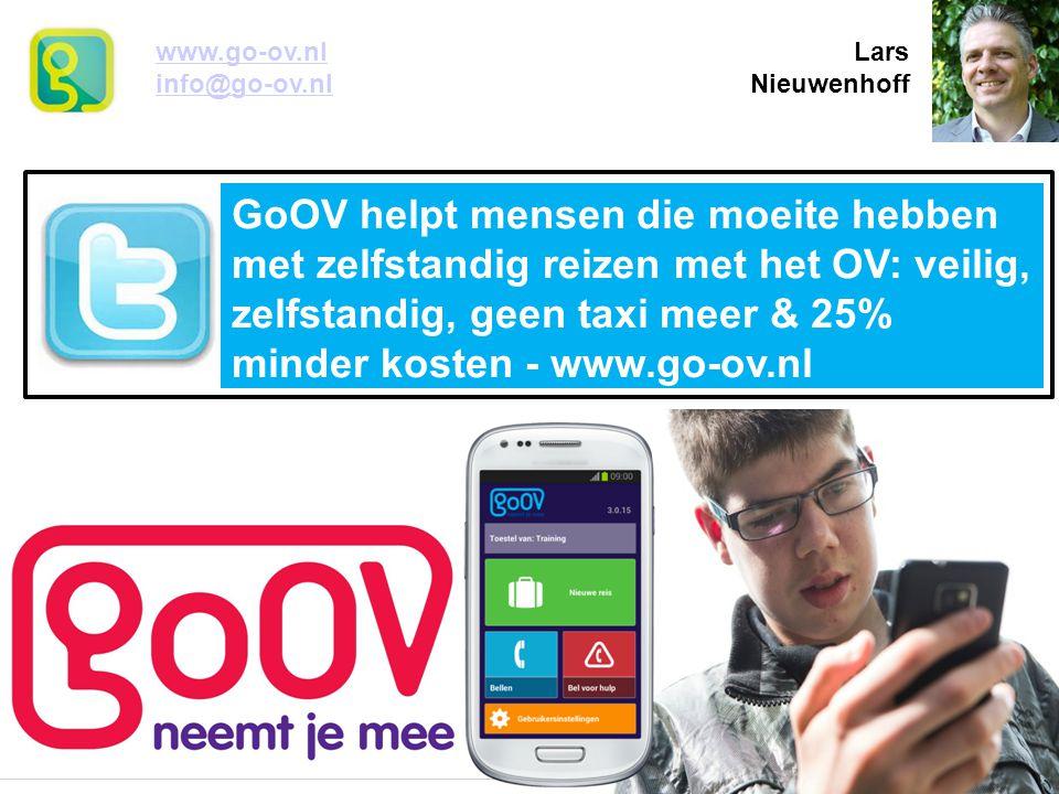 GoOV helpt mensen die moeite hebben met zelfstandig reizen met het OV: veilig, zelfstandig, geen taxi meer & 25% minder kosten - www.go-ov.nl www.go-ov.nl Larswww.go-ov.nl info@go-ov.nl Nieuwenhoffinfo@go-ov.nl
