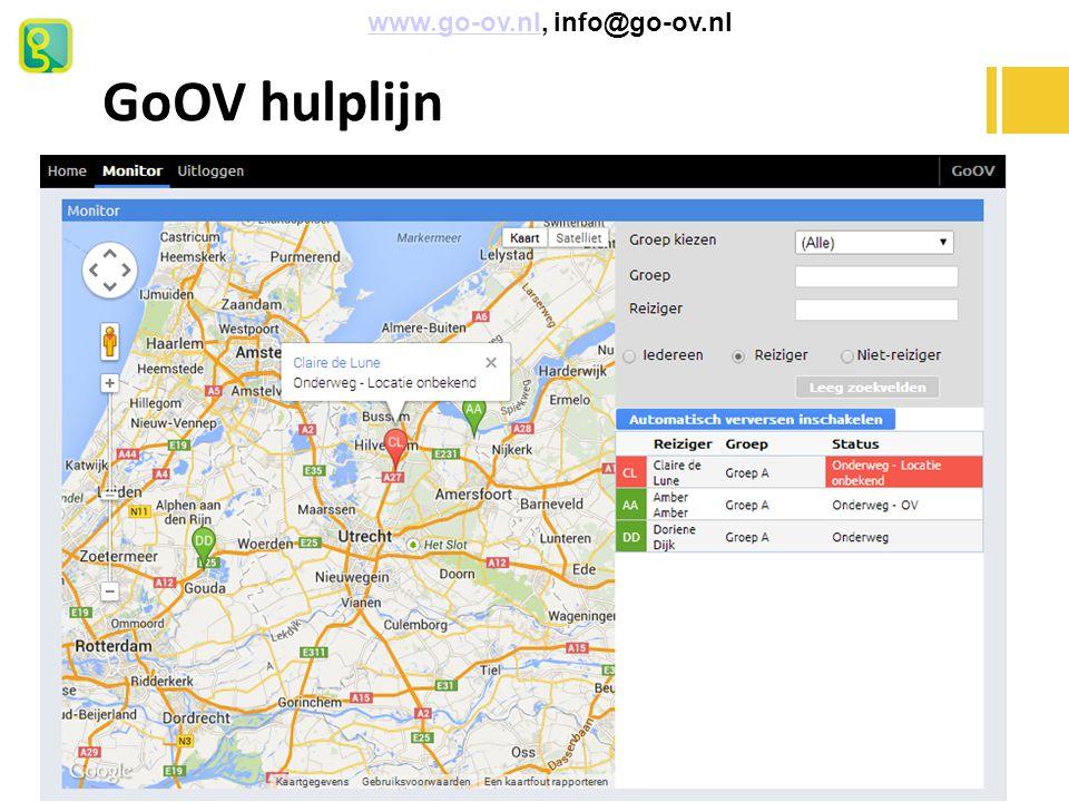GoOV hulplijn www.go-ov.nl, info@go-ov.nlwww.go-ov.nl