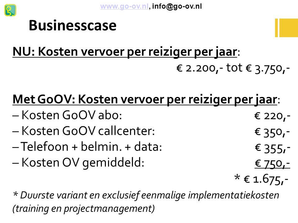 Businesscase NU: Kosten vervoer per reiziger per jaar: € 2.200,- tot € 3.750,- Met GoOV: Kosten vervoer per reiziger per jaar: – Kosten GoOV abo: € 22
