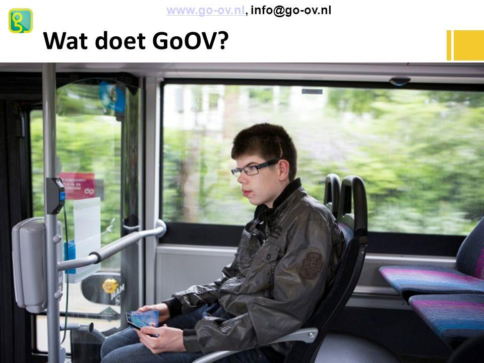 Businesscase NU: Kosten vervoer per reiziger per jaar: € 2.200,- tot € 3.750,- Met GoOV: Kosten vervoer per reiziger per jaar: – Kosten GoOV abo: € 220,- – Kosten GoOV callcenter: € 350,- – Telefoon + belmin.