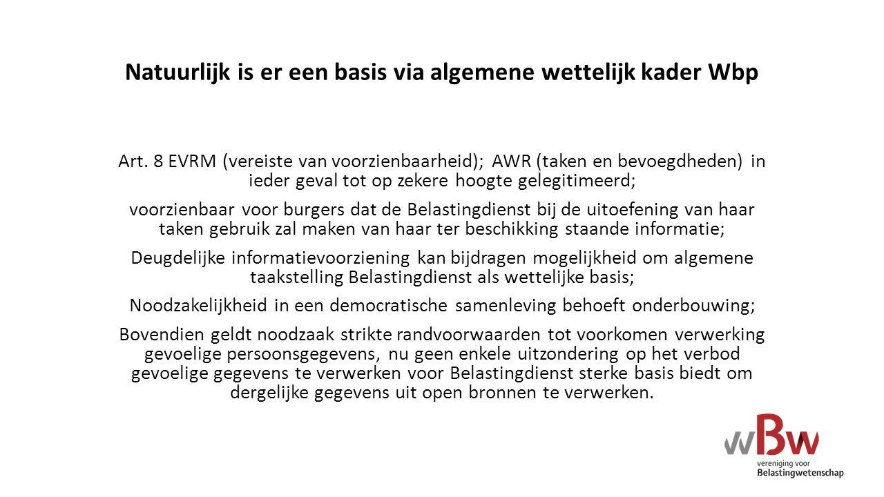 Natuurlijk is er een basis via algemene wettelijk kader Wbp Art. 8 EVRM (vereiste van voorzienbaarheid); AWR (taken en bevoegdheden) in ieder geval to
