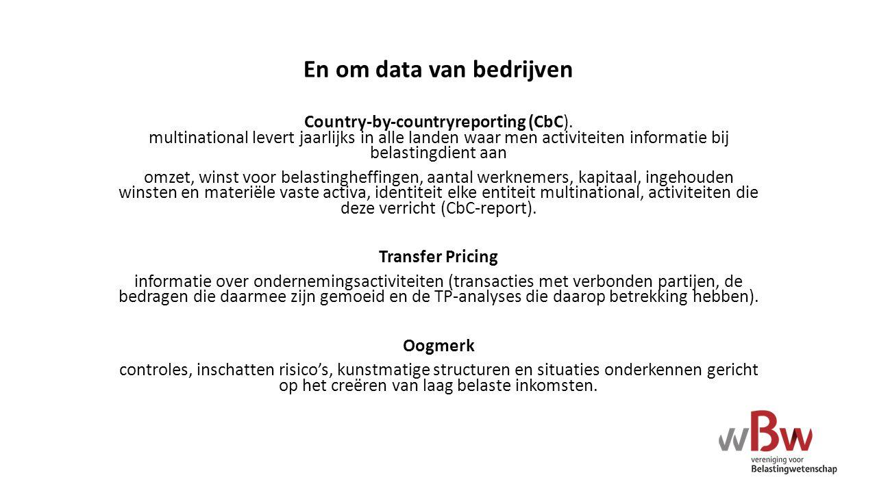 En om data van bedrijven Country-by-countryreporting (CbC). multinational levert jaarlijks in alle landen waar men activiteiten informatie bij belasti