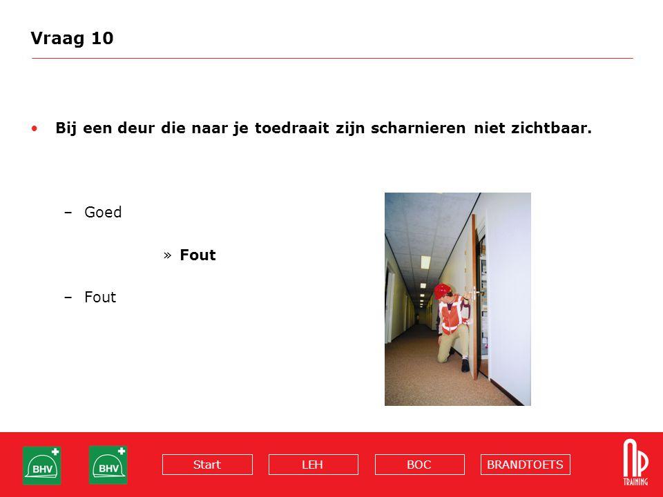 BRANDTOETSBOCLEHStart Vraag 10 Bij een deur die naar je toedraait zijn scharnieren niet zichtbaar. –Goed »Fout –Fout