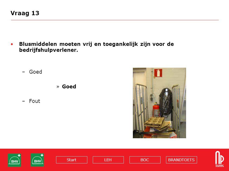 BRANDTOETSBOCLEHStart Vraag 13 Blusmiddelen moeten vrij en toegankelijk zijn voor de bedrijfshulpverlener. –Goed »Goed –Fout