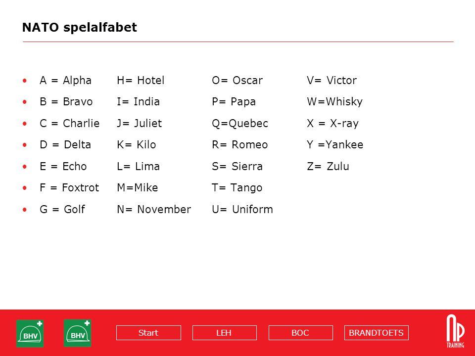 BRANDTOETSBOCLEHStart NATO spelalfabet A = Alpha H= Hotel O= Oscar V= Victor B = Bravo I= India P= Papa W=Whisky C = Charlie J= Juliet Q=Quebec X = X-