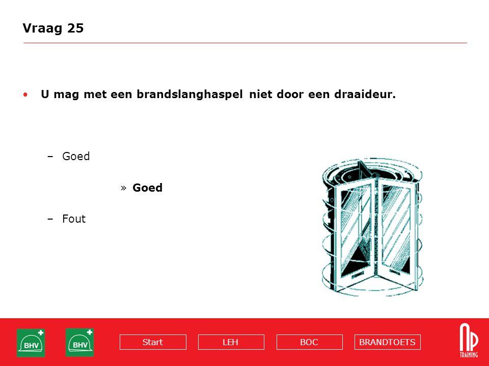 BRANDTOETSBOCLEHStart Vraag 25 U mag met een brandslanghaspel niet door een draaideur. –Goed »Goed –Fout