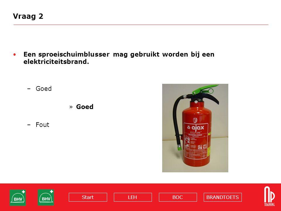 BRANDTOETSBOCLEHStart Vraag 2 Een sproeischuimblusser mag gebruikt worden bij een elektriciteitsbrand. –Goed »Goed –Fout