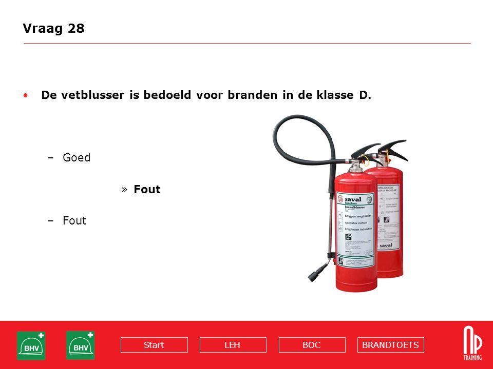 BRANDTOETSBOCLEHStart Vraag 28 De vetblusser is bedoeld voor branden in de klasse D. –Goed »Fout –Fout