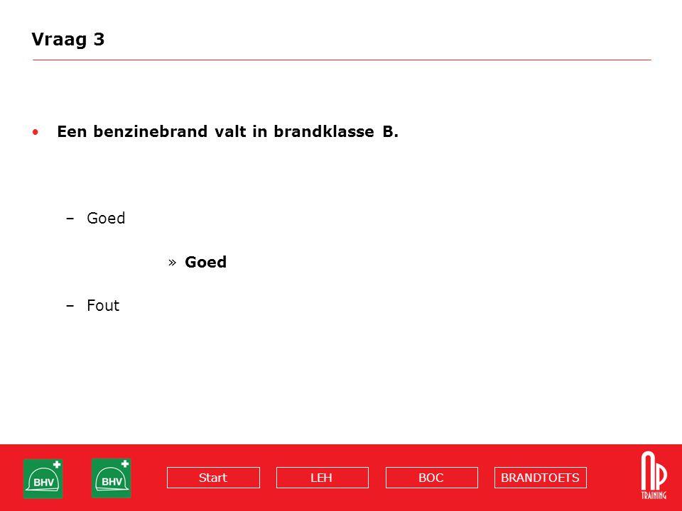BRANDTOETSBOCLEHStart Vraag 3 Een benzinebrand valt in brandklasse B. –Goed »Goed –Fout
