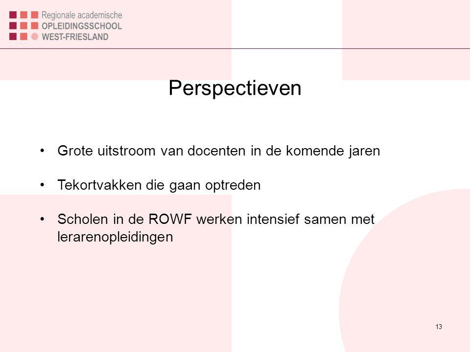Perspectieven 13 Grote uitstroom van docenten in de komende jaren Tekortvakken die gaan optreden Scholen in de ROWF werken intensief samen met lerarenopleidingen