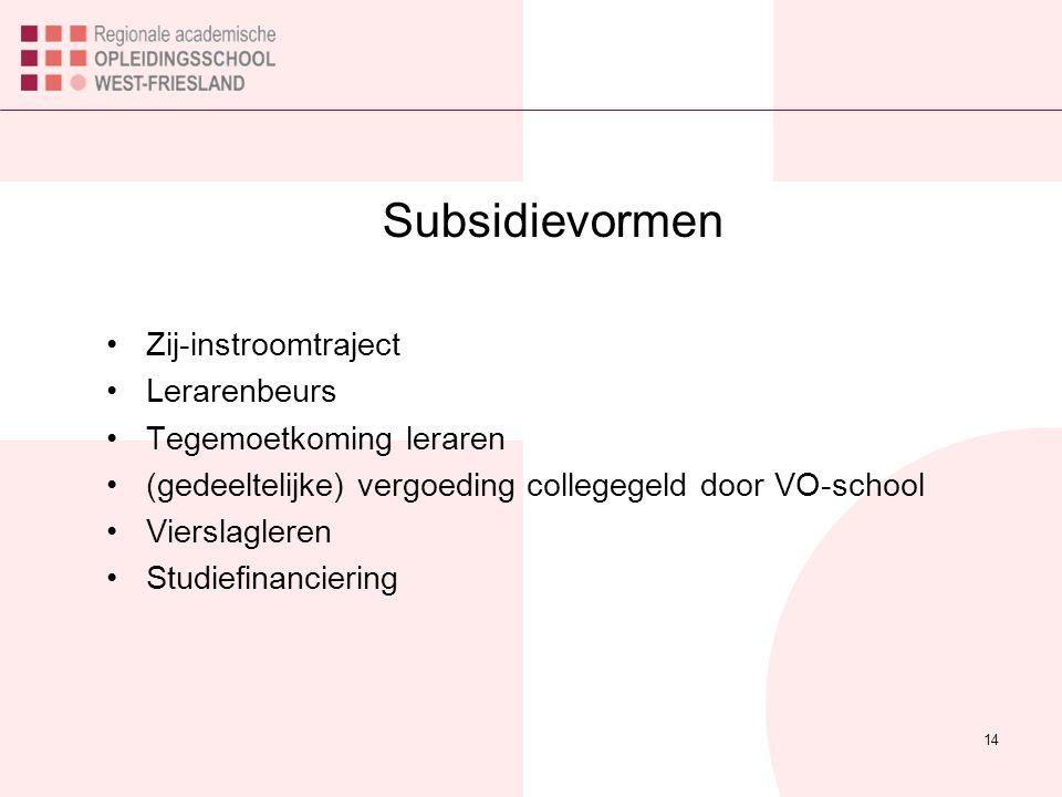 Subsidievormen Zij-instroomtraject Lerarenbeurs Tegemoetkoming leraren (gedeeltelijke) vergoeding collegegeld door VO-school Vierslagleren Studiefinanciering 14
