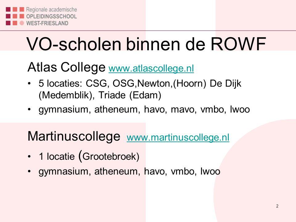 2 VO-scholen binnen de ROWF Atlas College www.atlascollege.nl www.atlascollege.nl 5 locaties: CSG, OSG,Newton,(Hoorn) De Dijk (Medemblik), Triade (Edam) gymnasium, atheneum, havo, mavo, vmbo, lwoo Martinuscollege www.martinuscollege.nl www.martinuscollege.nl 1 locatie ( Grootebroek) gymnasium, atheneum, havo, vmbo, lwoo