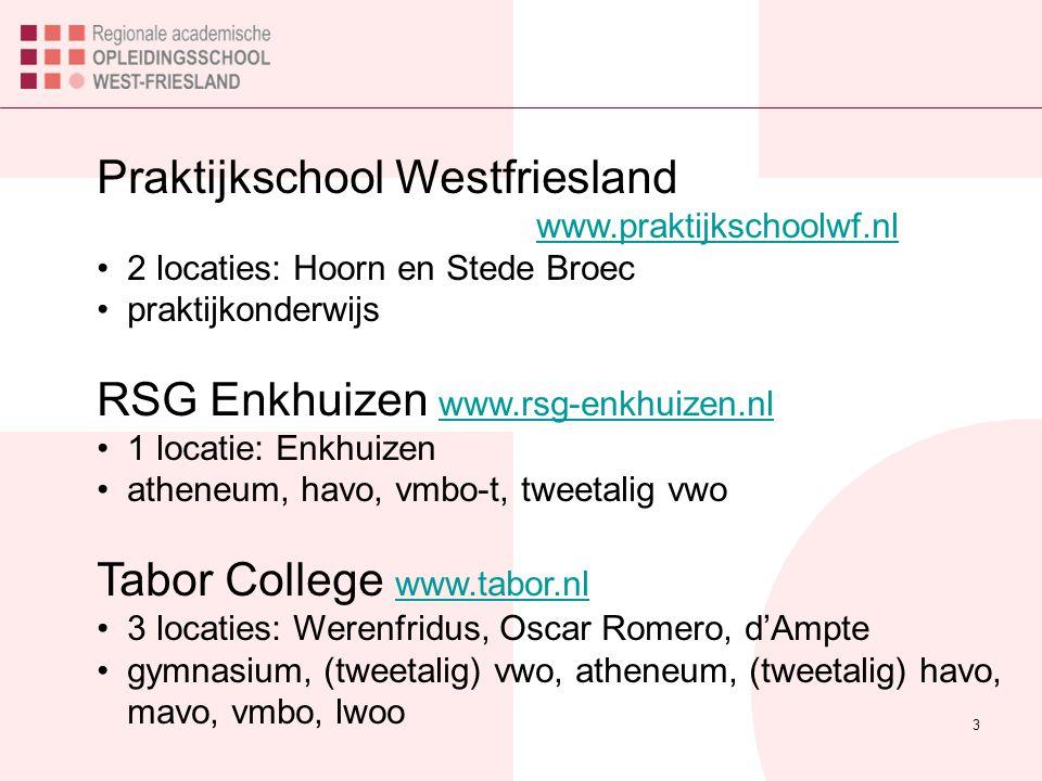 3 Praktijkschool Westfriesland www.praktijkschoolwf.nl www.praktijkschoolwf.nl 2 locaties: Hoorn en Stede Broec praktijkonderwijs RSG Enkhuizen www.rsg-enkhuizen.nl www.rsg-enkhuizen.nl 1 locatie: Enkhuizen atheneum, havo, vmbo-t, tweetalig vwo Tabor College www.tabor.nl www.tabor.nl 3 locaties: Werenfridus, Oscar Romero, d'Ampte gymnasium, (tweetalig) vwo, atheneum, (tweetalig) havo, mavo, vmbo, lwoo