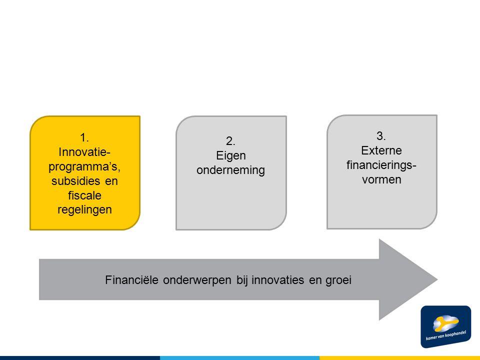 1. Innovatie- programma's, subsidies en fiscale regelingen 3. Externe financierings- vormen 2. Eigen onderneming Financiële onderwerpen bij innovaties