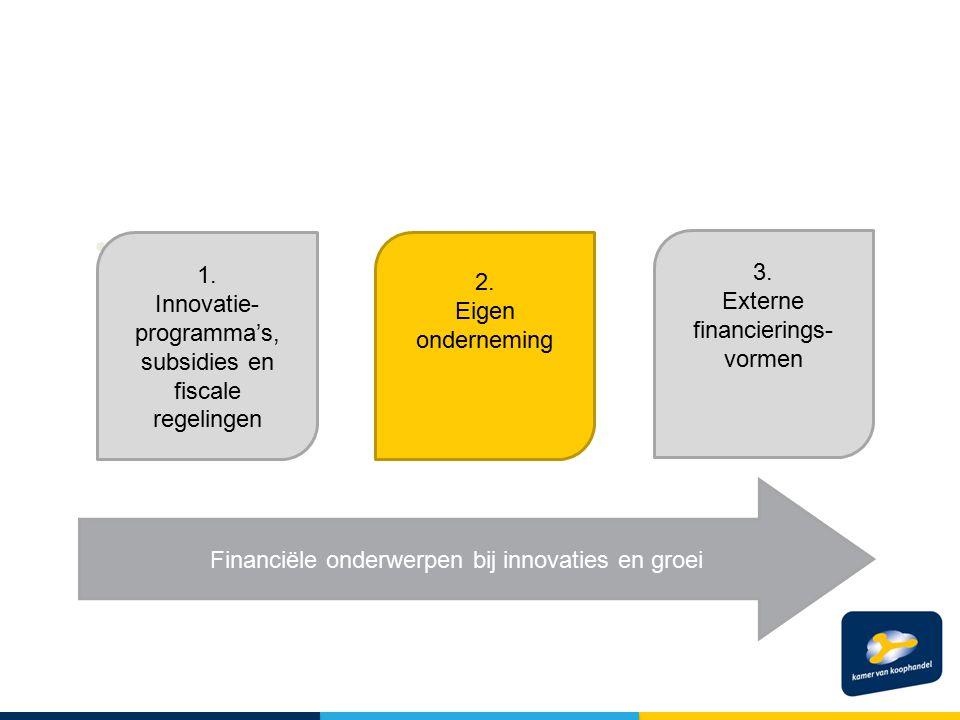 SSS 1. Innovatie- programma's, subsidies en fiscale regelingen 3.