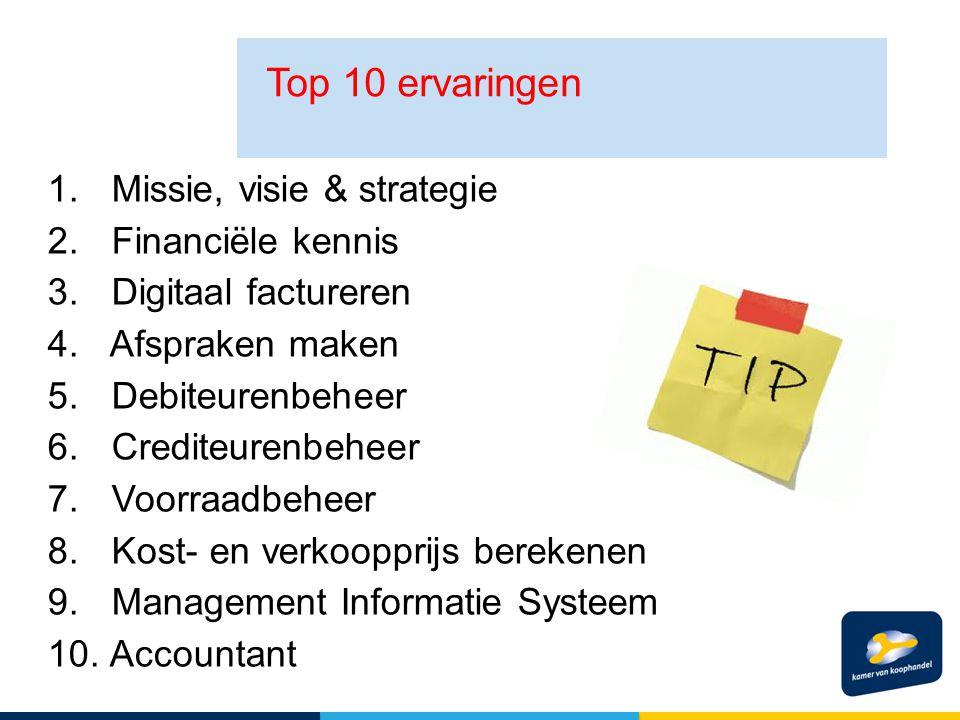 1. Missie, visie & strategie 2. Financiële kennis 3. Digitaal factureren 4. Afspraken maken 5. Debiteurenbeheer 6. Crediteurenbeheer 7. Voorraadbeheer