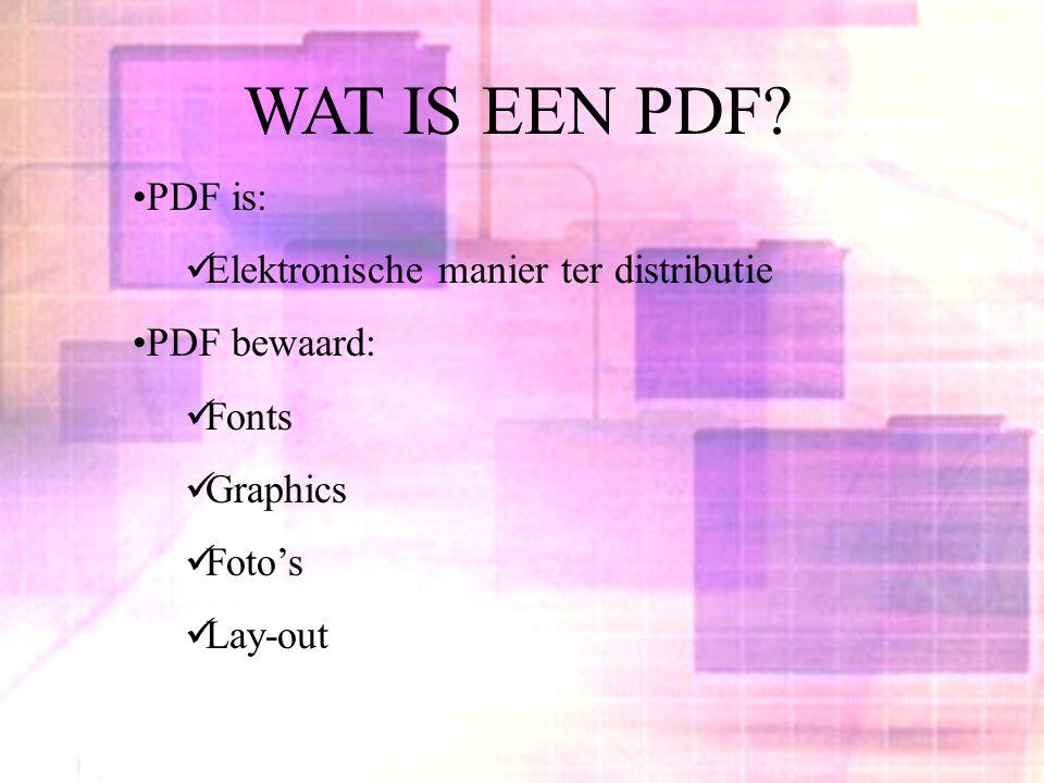 WAT IS EEN PDF? PDF is: Elektronische manier ter distributie PDF bewaard: Fonts Graphics Foto's Lay-out