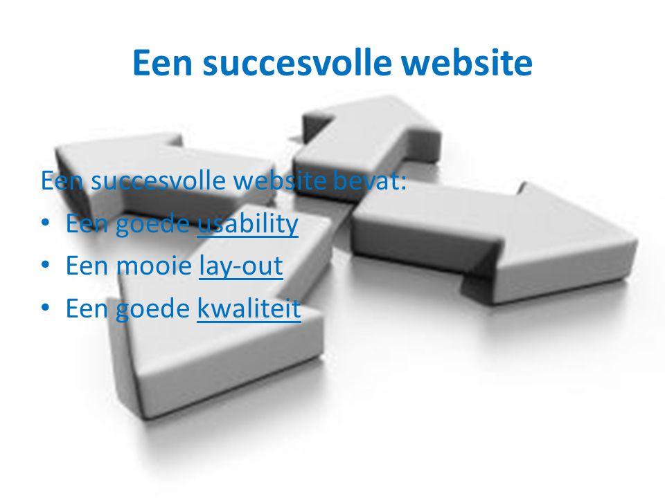 Een succesvolle website Een succesvolle website bevat: Een goede usability Een mooie lay-out Een goede kwaliteit