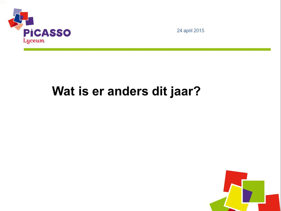 Wat is er anders dit jaar 24 april 2015