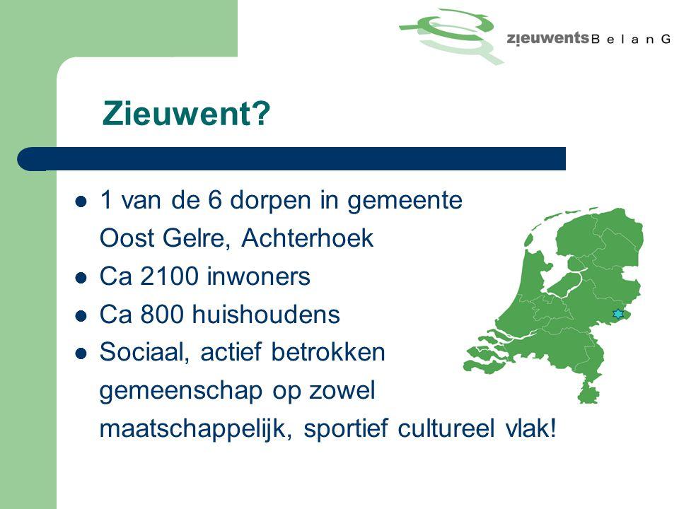 Zieuwent? 1 van de 6 dorpen in gemeente Oost Gelre, Achterhoek Ca 2100 inwoners Ca 800 huishoudens Sociaal, actief betrokken gemeenschap op zowel maat