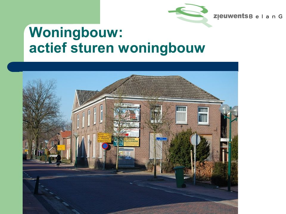 Woningbouw: actief sturen woningbouw