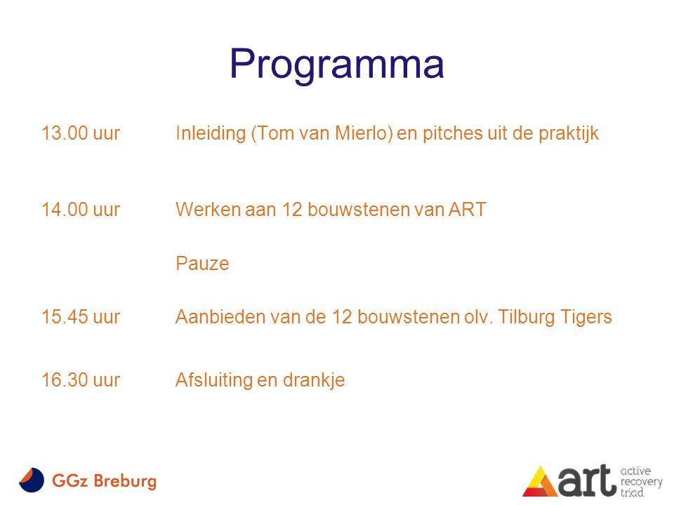 Programma 13.00 uurInleiding (Tom van Mierlo) en pitches uit de praktijk 14.00 uur Werken aan 12 bouwstenen van ART Pauze 15.45 uur Aanbieden van de 12 bouwstenen olv.