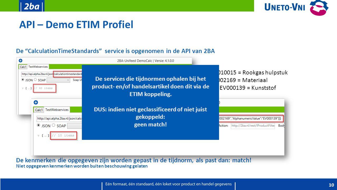 """API – Demo ETIM Profiel De """"CalculationTimeStandards"""" service is opgenomen in de API van 2BA De kenmerken die opgegeven zijn worden gepast in de tijdn"""
