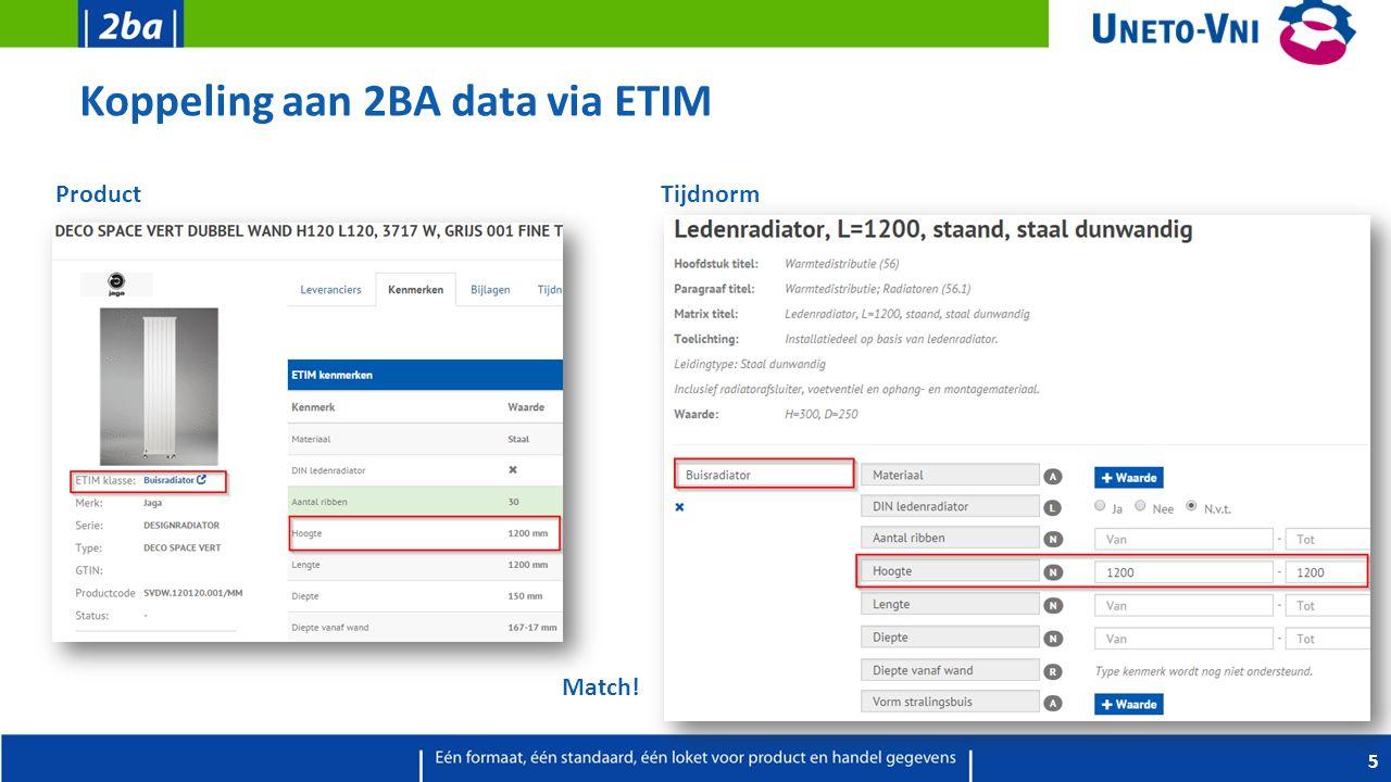 Koppeling aan 2BA data via ETIM 5 Product Tijdnorm Match!
