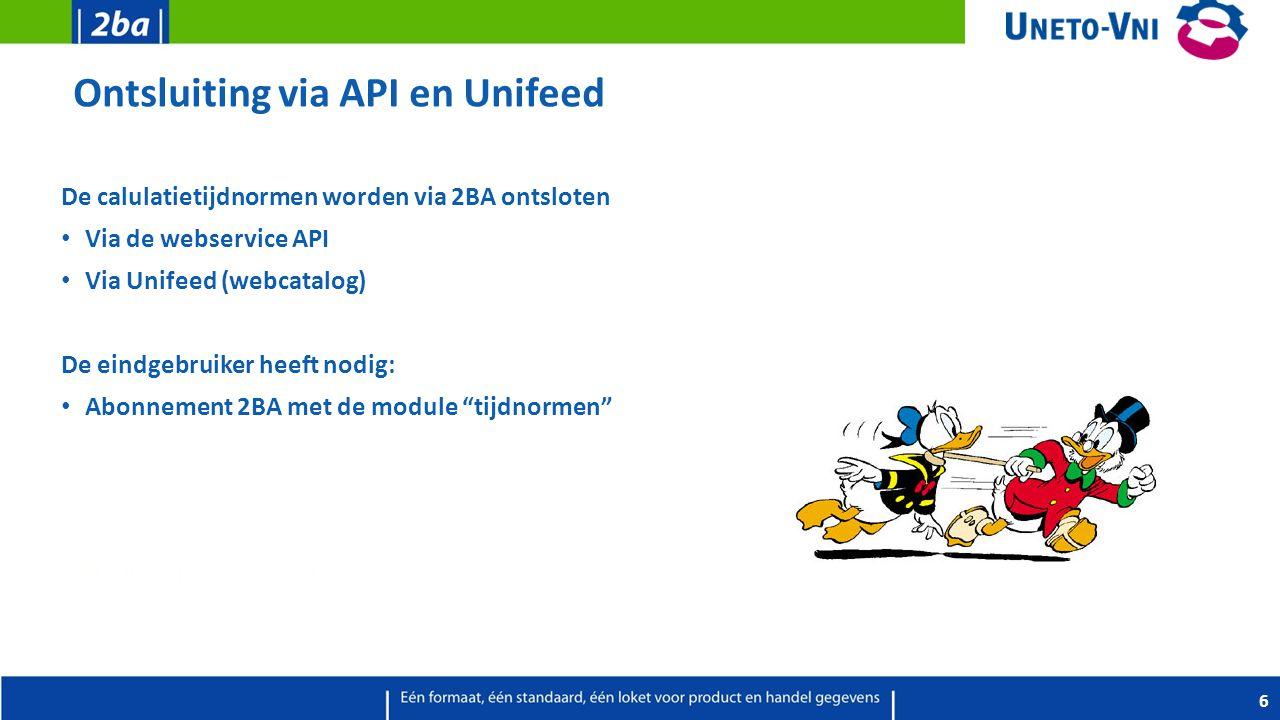 Ontsluiting via API en Unifeed De calulatietijdnormen worden via 2BA ontsloten Via de webservice API Via Unifeed (webcatalog) De eindgebruiker heeft n