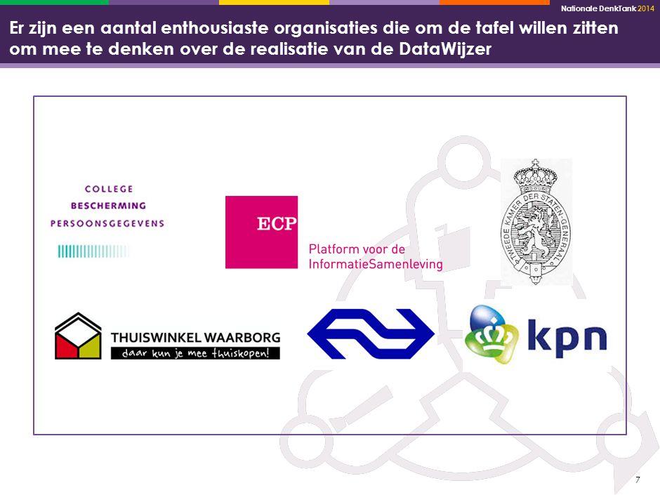 Nationale DenkTank 2014 7 Er zijn een aantal enthousiaste organisaties die om de tafel willen zitten om mee te denken over de realisatie van de DataWijzer